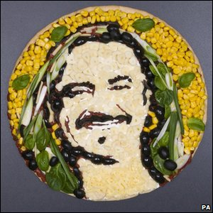 Pizza of X Factor contestant Wagner's face made by food artist Prudence Staite