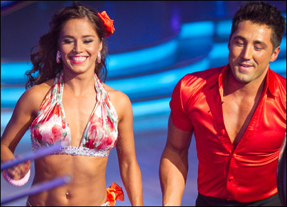 Gavin Henson and his dance partner Katya Virshilas dancing the Samba on Strictly Come Dancing