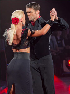 Scott Maslen and his dance partner Natalie Lowe dancing the Argentine tango on Strictly Come Dancing