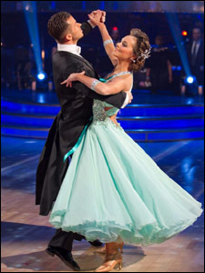 Kara Tointon and her dance partner Artem Chigvintsev dancing the Viennese Waltz on Strictly Come Dancing