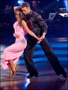 Kara Tointon and Artem Chigvintsev dancing the rumba on Strictly Come Dancing