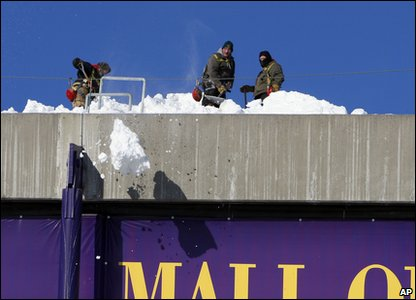 Workers shovelling snow of the stadium roof in Minneapolis in America