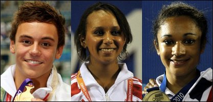 Tom Daley, Zoe Smith and Jodie Williams