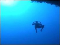 William Trubridge, free diver who has broken a world record by plunging 100m