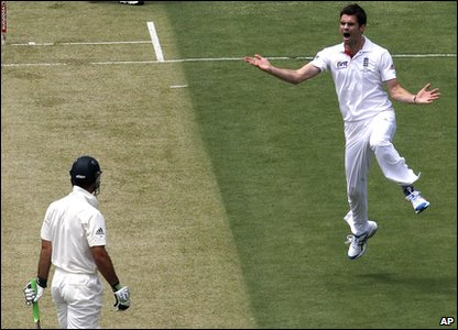 Ashes 2010 Third Test - day one - England's James Anderson celebrates taking the wicket of Australian captain Ricky Ponting