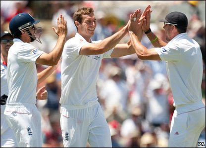 Ashes 2010 Third Test - day one - England's Chris Tremlett celebrates dismissing Australia's Steven Smith
