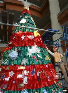 Christmas tree made out of fabric in Bangkok in Thailand