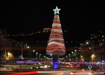 Plastic bottle Christmas tree in Haifa in Israel.