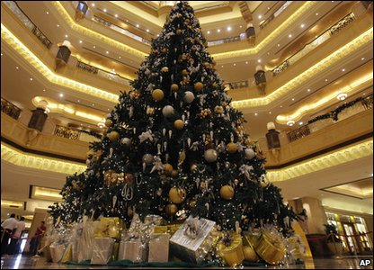 Gold christmas tree in Abu Dhabi