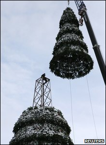 46 metre tall Christmas tree in Siberia in Russia
