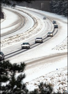 Cars on the roads in County Antrim, Northern Ireland.