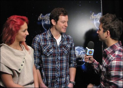 Ricky interviewing Strictly Come Dancing finalist Matt Baker and his dancing partner Aliona Vilani