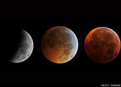Three images of the moon showing how it looks different during a lunar eclipse
