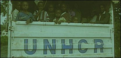 UNHCR lorry carries children in Zaire