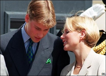 Zara Phillips whispering to Prince William