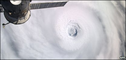 Hurricane in satellite photo