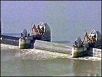 Thames flood barrier raised