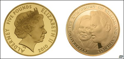 The front and back faces of a new coin celebrating the engagement of Kate Middleton and Prince William