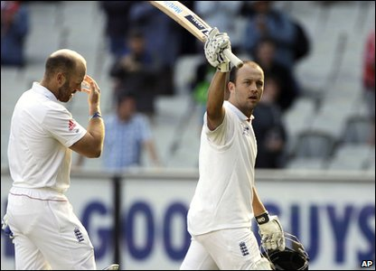 England's not out batsmen Matt Prior and Jonathon Trott walk off at the end of day two.  England are 444-5 - a lead of 346 runs.