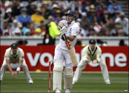 Cook is soon followed into the Pavilion by Andrew Strauss who is caught out by Michael Hussey.