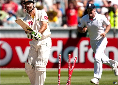 Ricky Ponting is bowled by Tim Bresnan