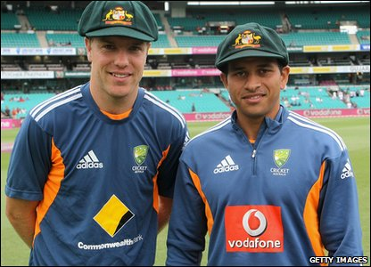Australia's Michael Beer and Usman Khawaja