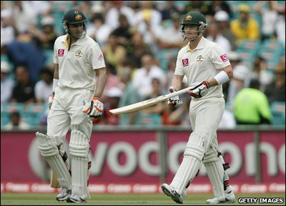 Australian cricketers Michael Hussey and Brad Haddin