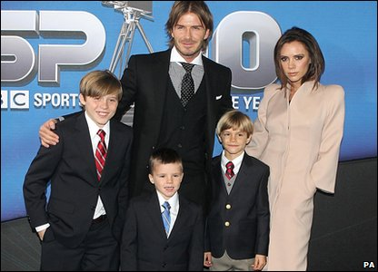 Romeo Beckham with his family. Romeo has made it into list of Britain's best dressed men.