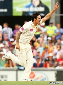 Mitchell Johnson of Australia celebrates a wicket during day two of the Fifth Ashes Test match