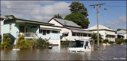 A truck is submerged by floodwater in Rockhampton in Australia