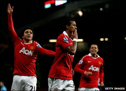 Manchester United v Stoke City - Nani and teammates celebrate after scoring the winning goal