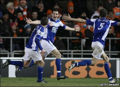 Blackpool v Birmingham - Scott Dann celebrates scoring the winning goal