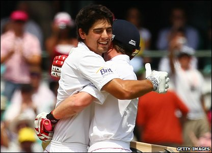 Ashes fifth Test - day three - Alistair Cook celebrates scoring a century