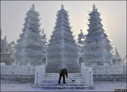 Sculptures of chinese pagodas at the annual snow and ice festival in Harbin in China.