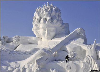 Sculpture of a woman at the annual snow and ice festival in Harbin in China.