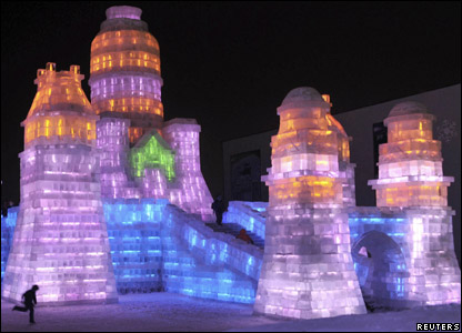 Sculpture lit up at night at the annual snow and ice festival in Harbin in China.
