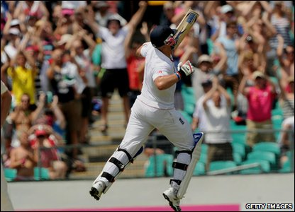 The mood soon picks up as batsmen Matt Prior smashes his way to his first century of the series. He's jumping for joy!