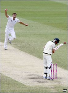 Ashes fifth Test - day five - England's Chris Tremlett celebrates after bowling out Australia's Michael Beer