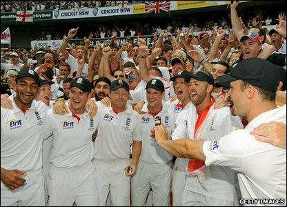 Ashes fifth Test - day five - England celebrate winning the Ashes in Australia