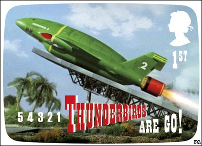 A stamp with an image from the children's show Thunderbirds - part of new stamps from Royal Mail featuring Thunderbirds, Captain Scarlet, Joe 90, Fireball XL5, Supercar and Stingray.