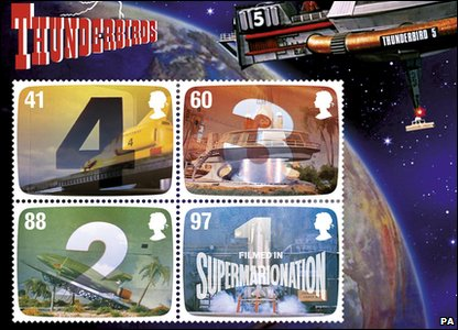 Moving stamp with countdown sequence from the children's show Thunderbirds.