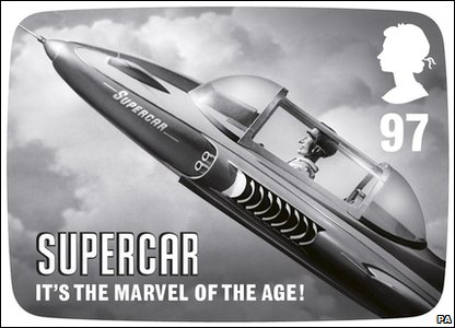 A stamp with an image from the children's show Supercar - part of new stamps from Royal Mail featuring Thunderbirds, Captain Scarlet, Joe 90, Fireball XL5, Supercar and Stingray.
