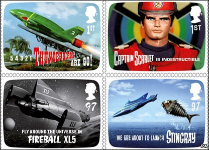New stamps from Royal Mail featuring Thunderbirds, Captain Scarlet, Joe 90, Fireball XL5, Supercar and Stingray.