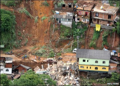 Flooding around the world - Brazil - area in Teresopolis that's been affected by a landslide