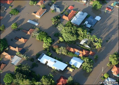 Flooding around the world - Australia - houses submerged by floodwater in Brisbane