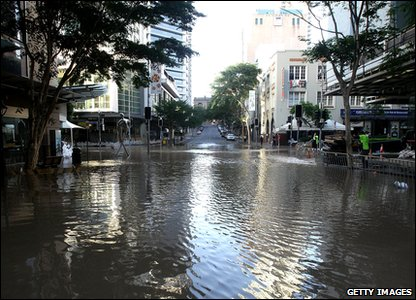 Flooding around the world - Australia - flooded part of Brisbane city centre