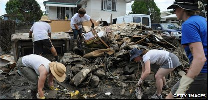 Residents of Brisbane clean-up after the flood waters go down.