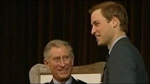 Heir to the throne Prince Charles and his son Prince William