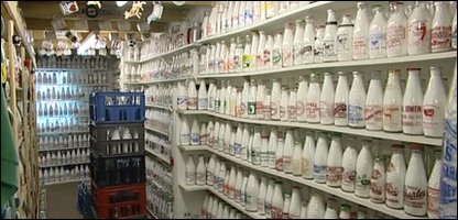 Collection of milk bottles