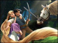 Flynn, Rapunzel and Maximus the horse in a still from Disney's Tangled
